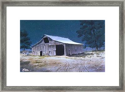 Moonlit Barn Framed Print