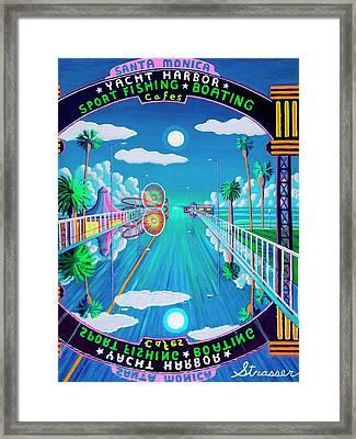 Moonlit Pier Framed Print by Frank Strasser