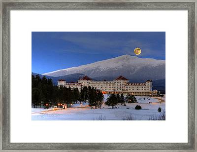 Moonrise Over The Mount Washington Hotel Framed Print
