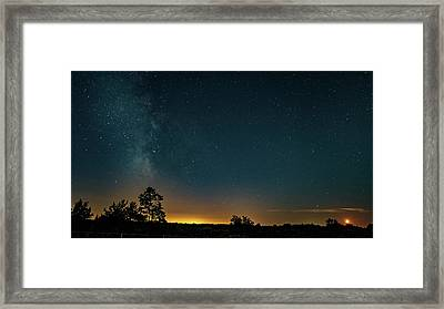 Moonset And The Milky Way Framed Print