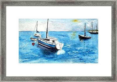 Framed Print featuring the painting Moored Boats by Sibby S