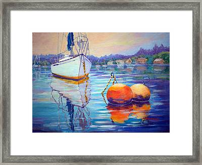 Mooring In Port Moody Framed Print by Val Philbrook