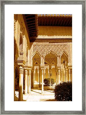 Moorish Architecture In The Nasrid Palaces At The Alhambra Granada Framed Print by Mal Bray