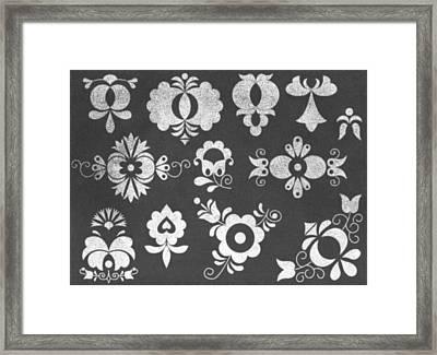 Moravian Folk Ornaments On Chalkboard Framed Print by Miroslav Nemecek