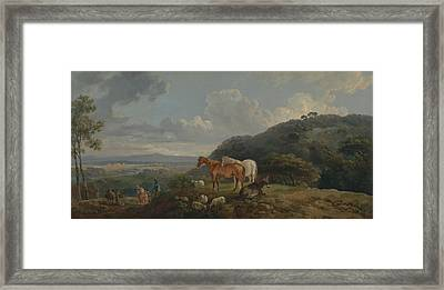 Morning- Landscape With Mares And Sheep Framed Print