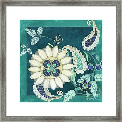 Framed Print featuring the painting Moroccan Paisley Peacock Blue 1 by Audrey Jeanne Roberts