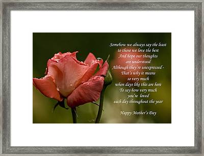 Framed Print featuring the photograph Mother's Day Card 5 by Michael Cummings