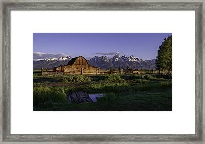 Moulton Barn At Dawn Framed Print by Mary Angelini