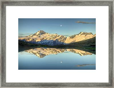 Mount Aspiring Moonrise Over Cascade Framed Print by Colin Monteath