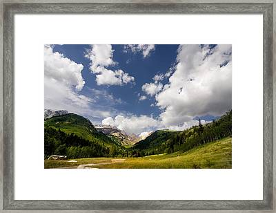 Mountain And Clouds Framed Print