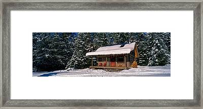 Mountain Cabin And Snow Covered Forest Framed Print by Panoramic Images
