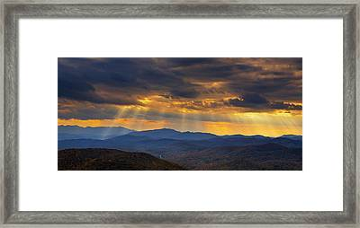Framed Print featuring the photograph Mountain God Rays by Ken Barrett