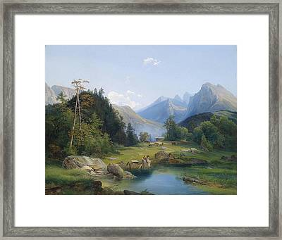 Mountain Landscape With Decorative Figures Framed Print by MotionAge Designs