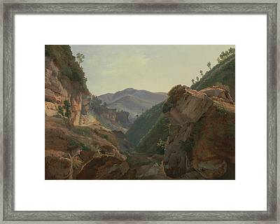 Mountain Landscape With Road To Naples Framed Print by Jean-Charles-Joseph Remond