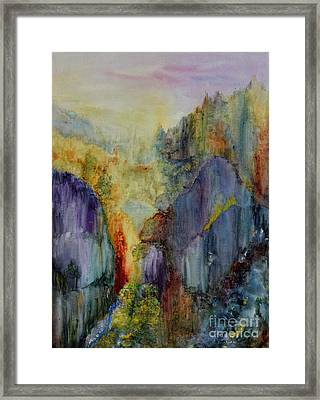 Framed Print featuring the painting Mountain Scene by Karen Fleschler