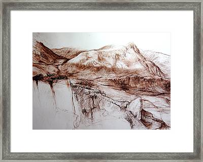 Framed Print featuring the drawing Mountains In Snowdonia by Harry Robertson