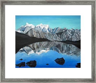 Mountains Landscape Acrylic Painting Framed Print by Natalja Picugina