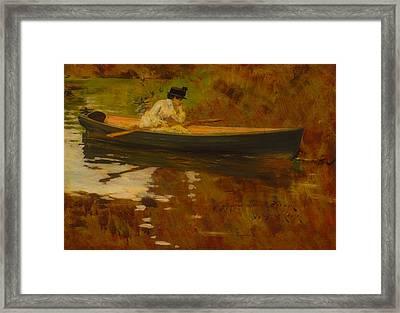 Mrs Chase In Prospect Park Framed Print by William Merritt Chase