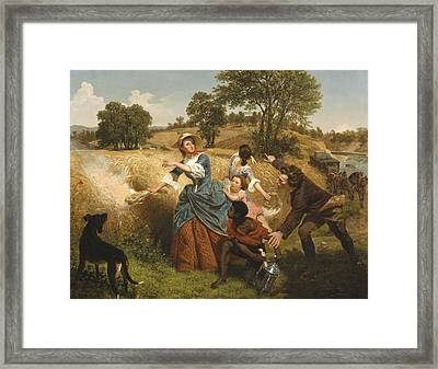 Mrs Schuyler Burning Her Wheat Fields On The Approach Of The British Framed Print