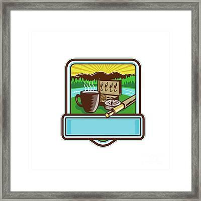 Mug Fly Tackle Bait Box Rod Reel Crest Woodcut Framed Print