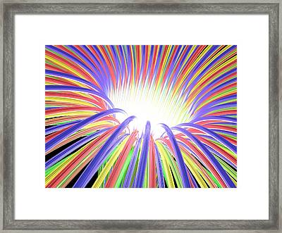 Multicoloured Light Ray Funnel, Artwork Framed Print