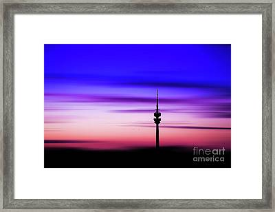 Framed Print featuring the photograph Munich - Olympiaturm At Sunset by Hannes Cmarits