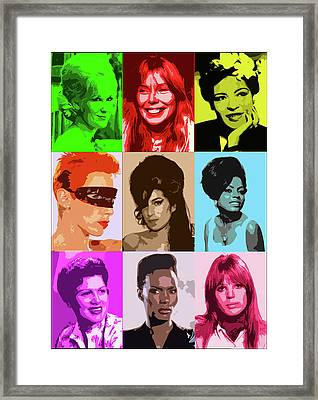 Music Icons #1 Female Framed Print by Cathy Cain