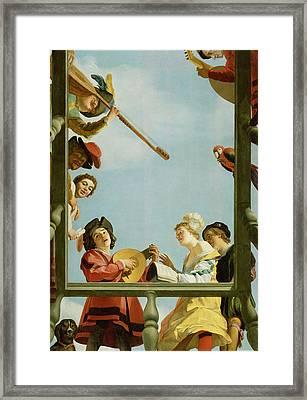 Musical Group On A Balcony Framed Print