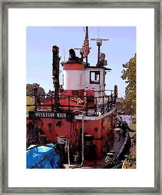 Muskegon Tug Framed Print by Chuck Kugler
