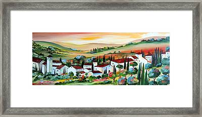 Framed Print featuring the painting My Dream Village by Roberto Gagliardi
