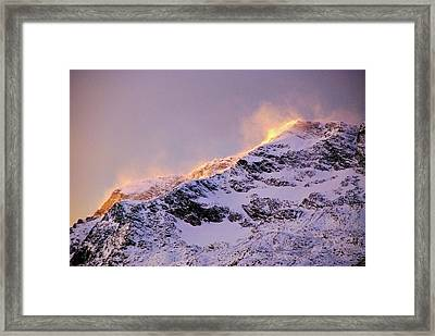 mystery mountains in North of Norway Framed Print