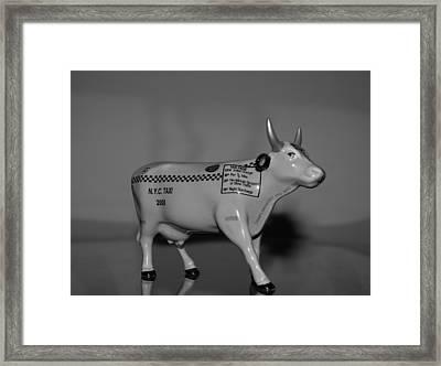 N Y C Taxi Cow Framed Print by Rob Hans