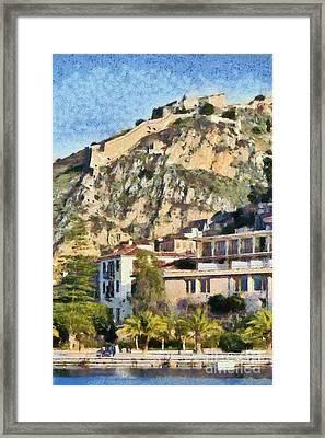 Nafplio Town And Palamidi Castle Framed Print by George Atsametakis