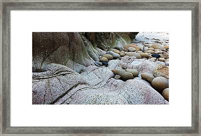 Framed Print featuring the digital art Nanven Rocks by Julian Perry