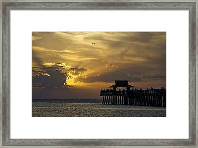 Naples Pier At Sunset Framed Print