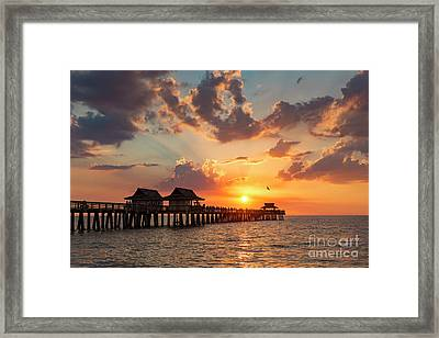 Framed Print featuring the photograph Naples Pier At Sunset by Brian Jannsen