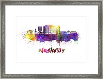 Nashville Skyline In Watercolor Framed Print by Pablo Romero