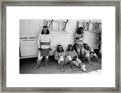 Native American Extras Dressed As Apache Warriors The High Chaparral Set Old Tucson Arizona 1969 Framed Print