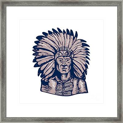 Native American Indian Chief Warrior Etching Framed Print