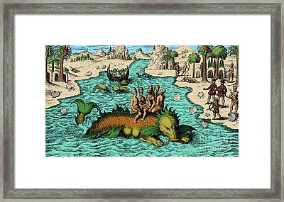 Native Noblemen Riding Sea Monster, 1621 Framed Print by Science Source