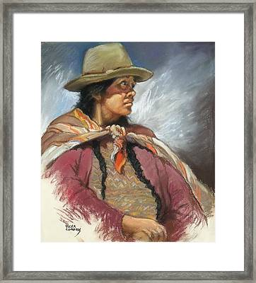 Native Peruvian Woman Framed Print by Oscar Cuadros