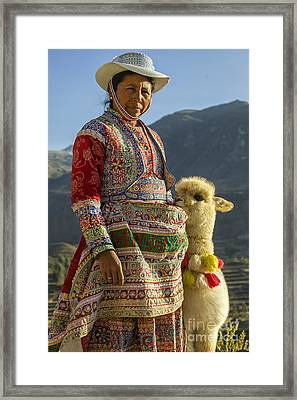 Native Peruvian Woman With Baby Alpaca Framed Print by Patricia Hofmeester