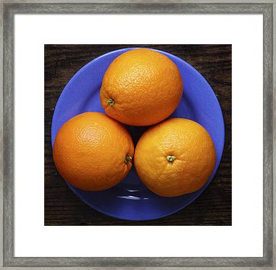 Naval Oranges On Blue Plate Framed Print by Donald Erickson