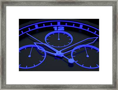 Neon Watch Face Framed Print by Allan Swart