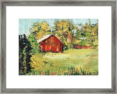 New England Barn Framed Print by Julia S Powell
