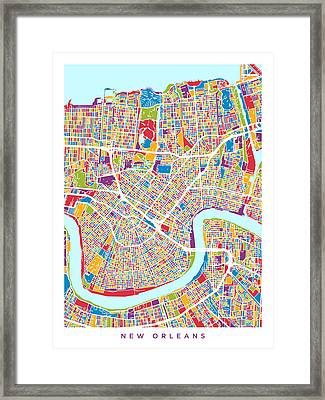 New Orleans Street Map Framed Print by Michael Tompsett