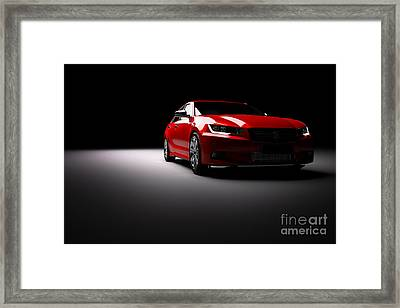 New Red Metallic Sedan Car In Spotlight. Modern Desing, Brandless. Framed Print by Michal Bednarek