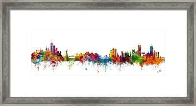 New York And Boston Skyline Mashup Framed Print