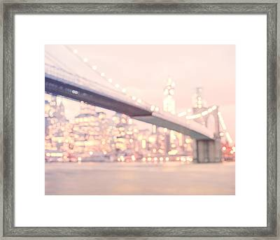 New York City - Lights At Night Framed Print by Vivienne Gucwa
