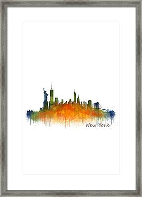 New York City Skyline Hq V02 Framed Print by HQ Photo